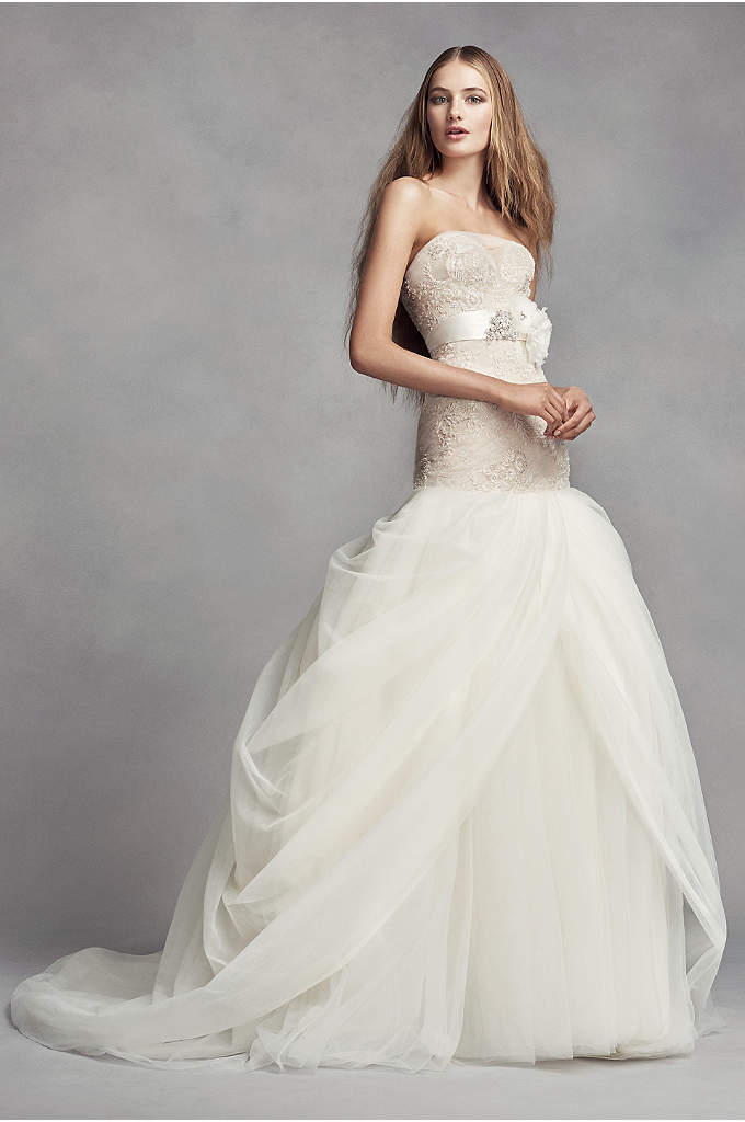 White by Vera Wang Lace Trumpet Wedding Dress - Hand-beaded appliques are delicately veiled with tulle on