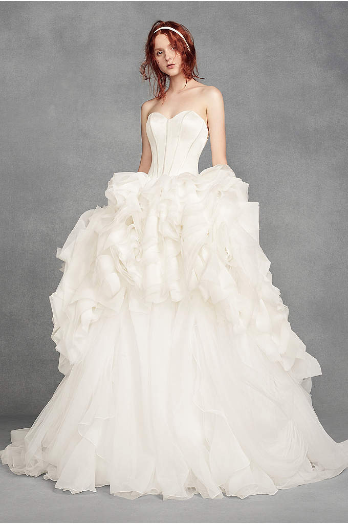 White by Vera Wang Tiered Organza Wedding Dress - Make a style statement in this modern-chic gown