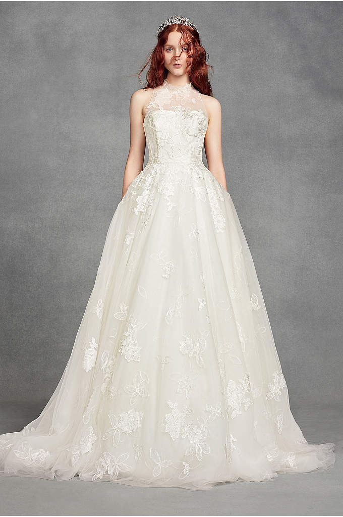 White by Vera Wang Illusion Floral Wedding Dress - This romantic White by Vera Wang wedding dress