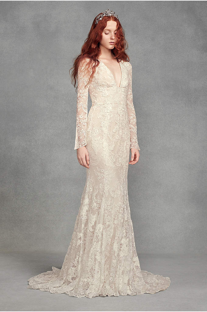 White by Vera Wang Bell Sleeve Lace Wedding - A vintage-inspired take on the White by Vera