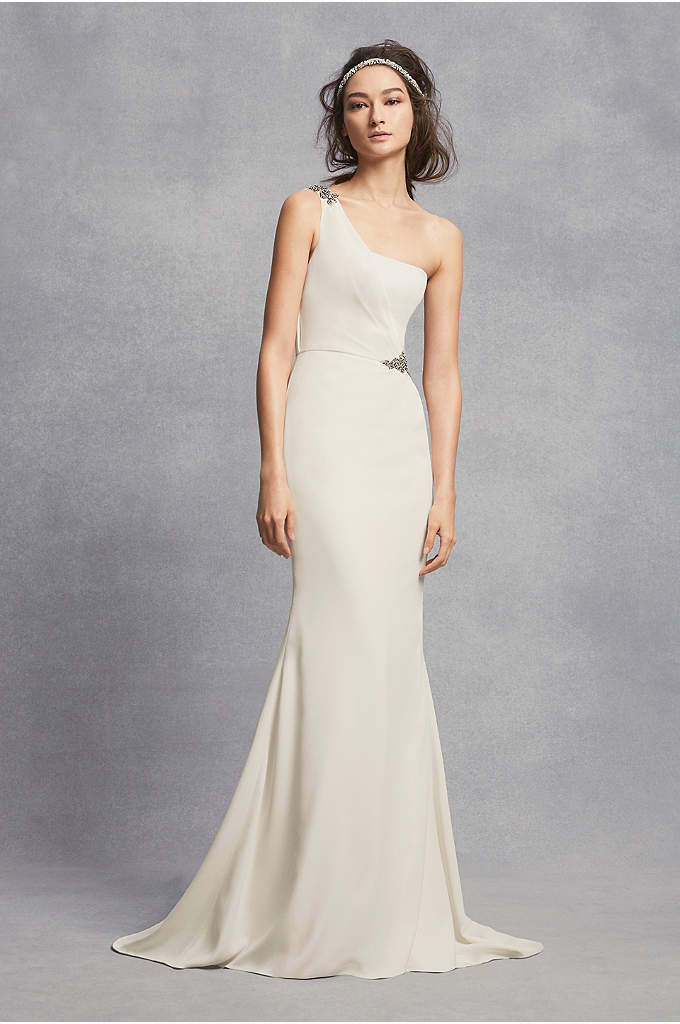 One-Shoulder Sheath Wedding Dress with Crystals - With its one-shoulder bodice and hand-placed Georgian jewelry-inspired