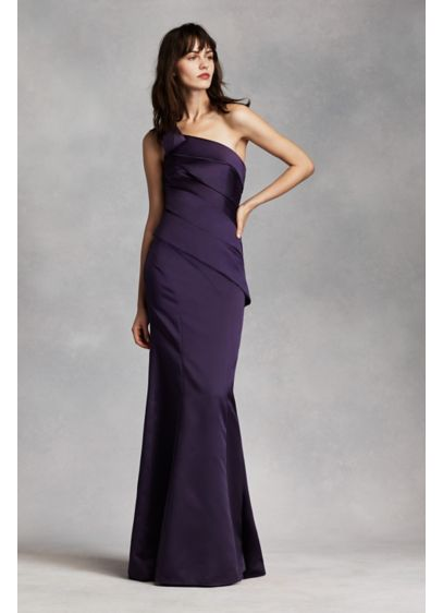 One Shoulder Satin Dress With Asymmetrical Skirt Davids