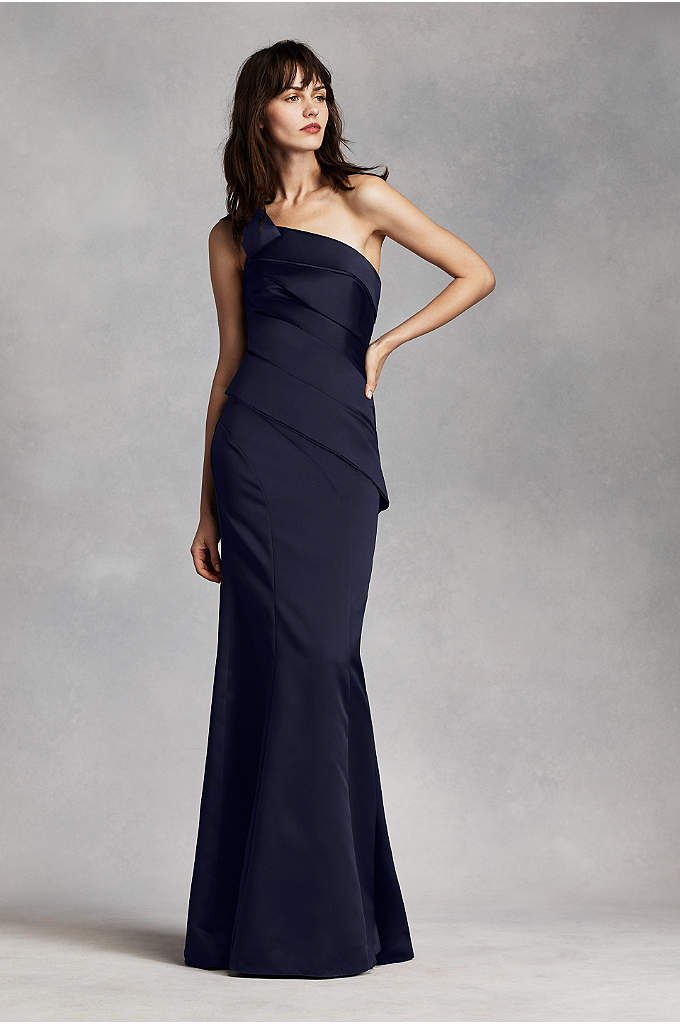 Extra Length Short Strapless Satin Dress - Davids Bridal
