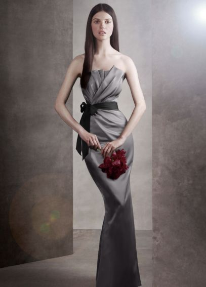 Draped Satin Dress with Grosgrain Sash VW360059