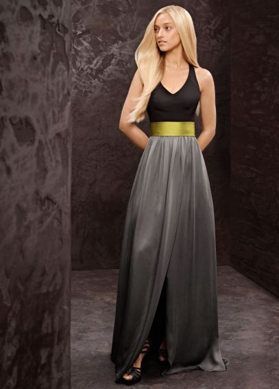Long V-Neck Halter Gown with Matte Crepe Bodice VW360092