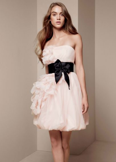 Bubble Dress with Asymmetrical Organza Petals VW360094