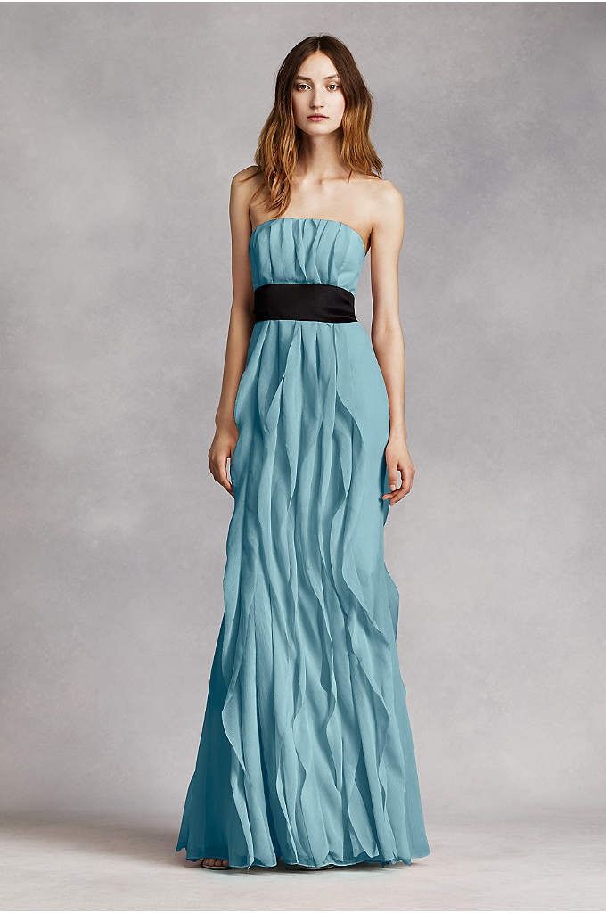 Strapless Crinkle Chiffon Dress with Mikado Sash - Long bridesmaid dress features gorgeous soft, flowing flange