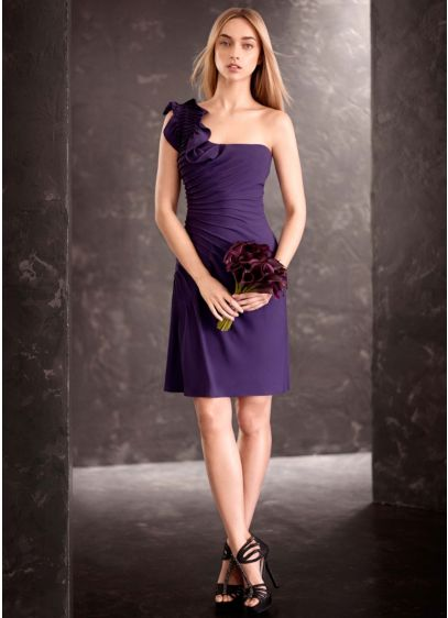 Short Purple Soft & Flowy White by Vera Wang Bridesmaid Dress