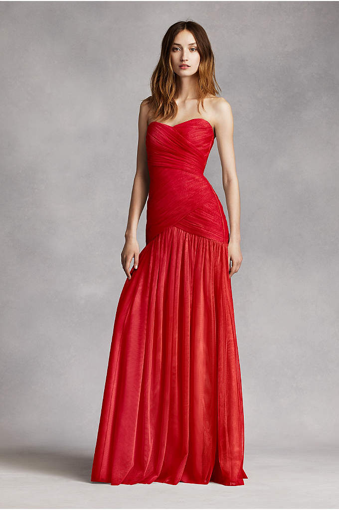 Strapless Bobbin Net Gown with Sweetheart Neckline - Look effortlessly chic in this long soft bobbin