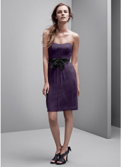 Short Purple Structured White by Vera Wang Bridesmaid Dress
