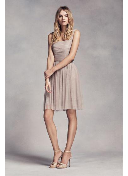 Short Pink Soft & Flowy White by Vera Wang Bridesmaid Dress