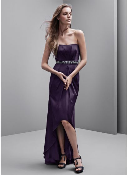 High Low Black Soft & Flowy White by Vera Wang Bridesmaid Dress