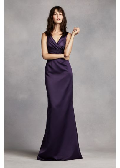 V Neck Satin Dress with Wrap Front Bodice VW360170