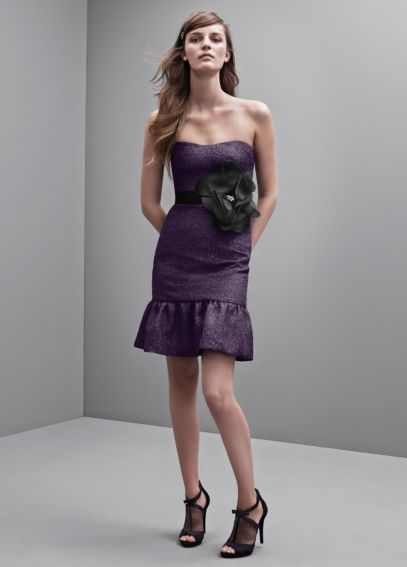 Strapless Floral Jacquard Dress with Flounced Hem VW360173