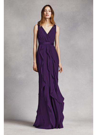 Long Purple Soft & Flowy White by Vera Wang Bridesmaid Dress