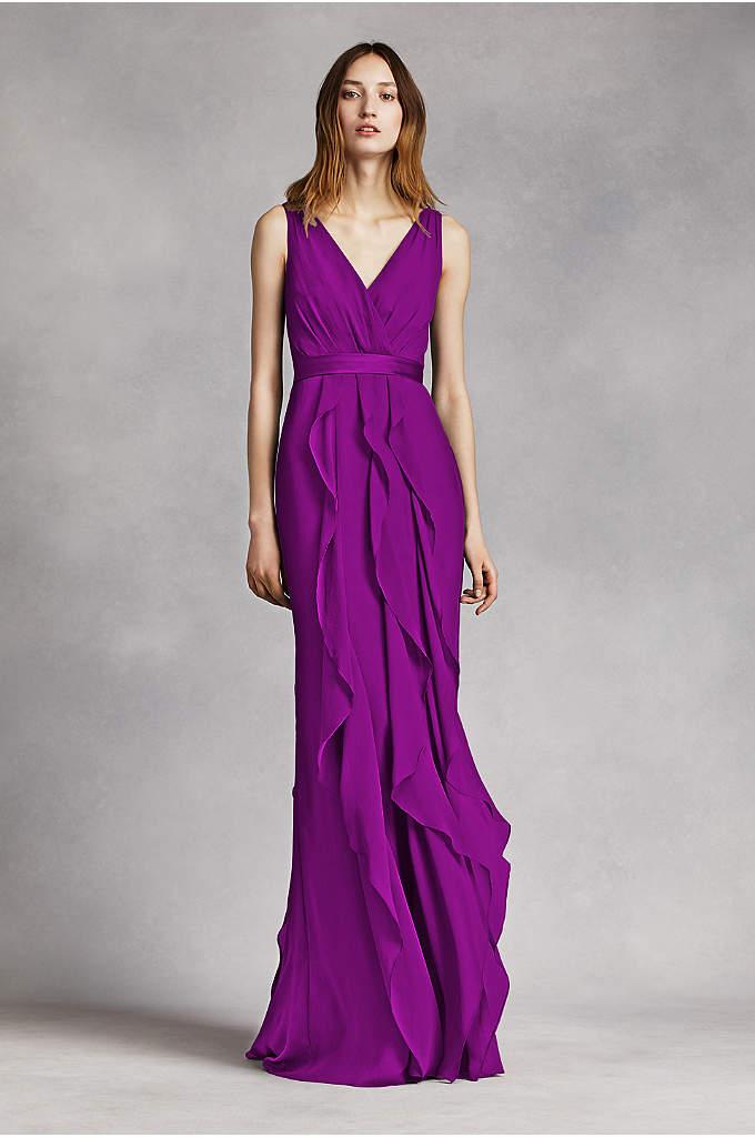 V-Neck Wrapped Bodice Dress with Satin Belt - This V-neck wrapped bodice dress is timeless and