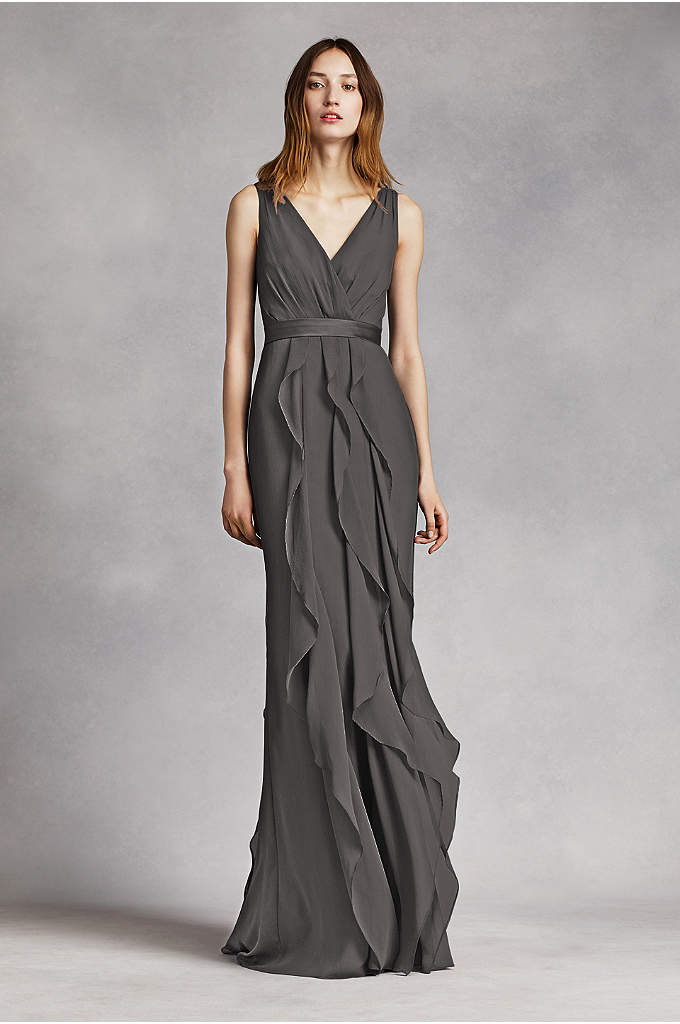 V-Neck Wrapped Bodice Dress with Satin Belt - This V-neck wrapped bodice dress is timeless and