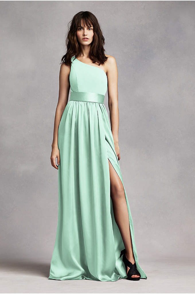 One Shoulder Dress with Satin Sash - Timeless and chic, this floor sweeping dress draws