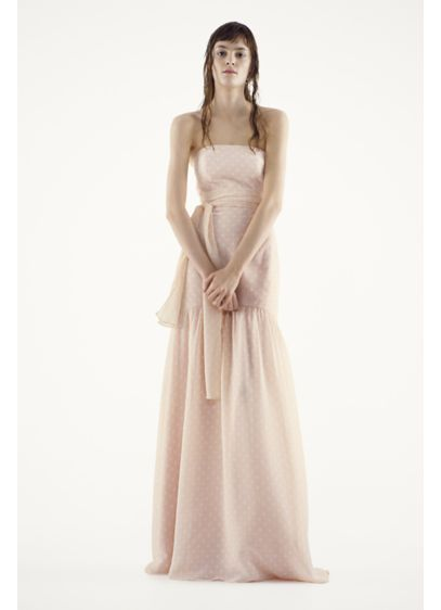 Long Pink Soft & Flowy White by Vera Wang Bridesmaid Dress