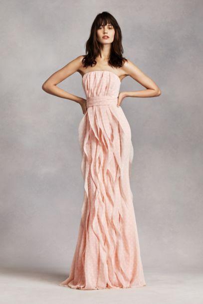 Strapless Chiffon Dress with Vertical Ruffles | David's Bridal