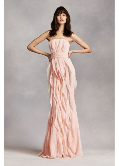 Strapless Chiffon Dress with Vertical Ruffles VW360219