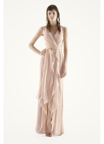Sleeveless Chiffon Dress with Vertical Ruffles VW360220