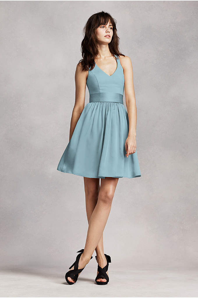 White by Vera Wang Short Halter Bridesmaid Dress - This classic dress is chic and offers plenty