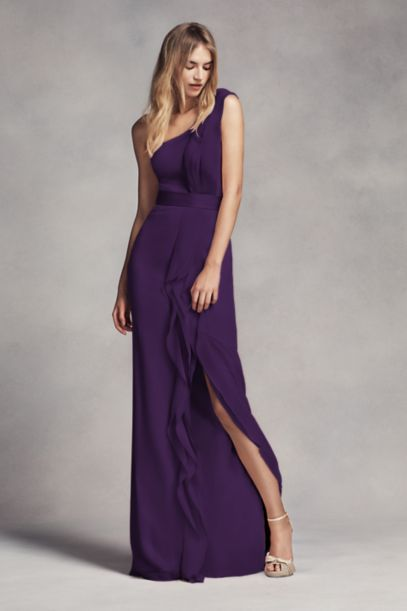 Long One-Shoulder Bridesmaid Dress with Ruffles - Davids Bridal