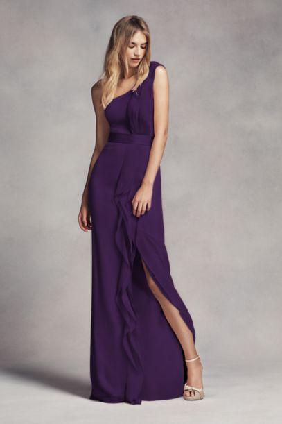 Long One-Shoulder Bridesmaid Dress with Ruffles - Davids Bridal