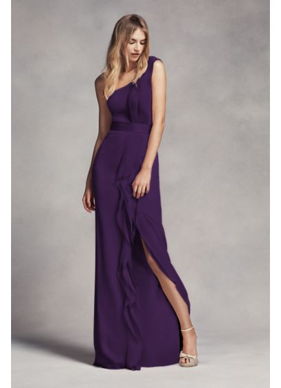 Long One Shoulder Bridesmaid Dress With Ruffles Davids