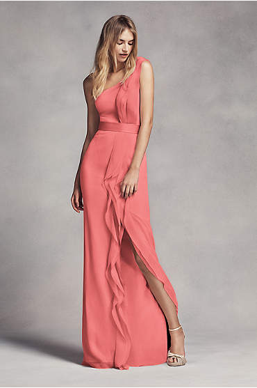Long One-Shoulder Bridesmaid Dress with Ruffles