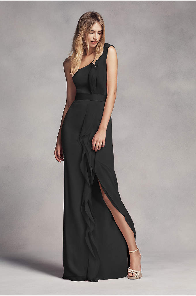 Long One-Shoulder Bridesmaid Dress with Ruffles - This long chiffon bridesmaid dress is a work