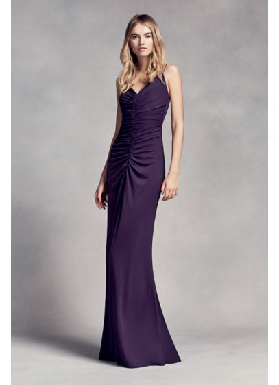 Long Purple Soft & Flowy White by Vera Wang Bridesmaid Dress