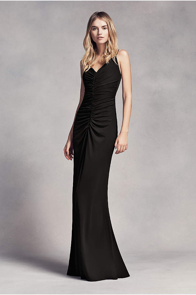 Long Ruched Jersey Bridesmaid Dress - Ruching hugs your curves from V-neck to hem
