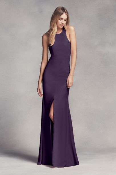 Long Halter Bridesmaid Dress with Skirt Slit   David's Bridal
