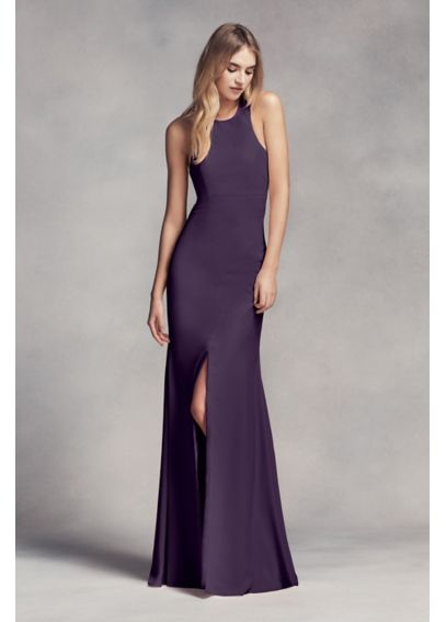 Long Halter Bridesmaid Dress with Skirt Slit VW360297