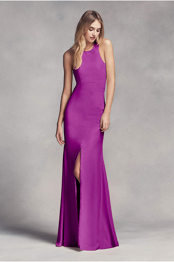 Long Halter Bridesmaid Dress with Skirt Slit
