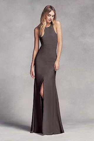 Vestido Largo Para Dama, de Escote en T y Columpio en la Espalda con Abertura Lateral