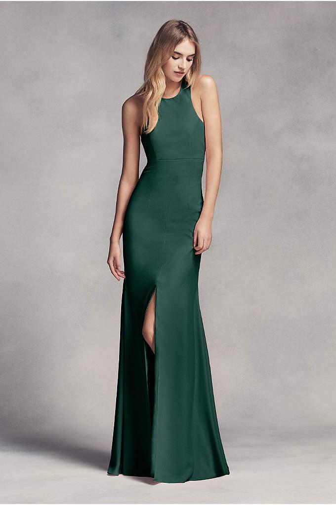 Long Halter Bridesmaid Dress with Skirt Slit