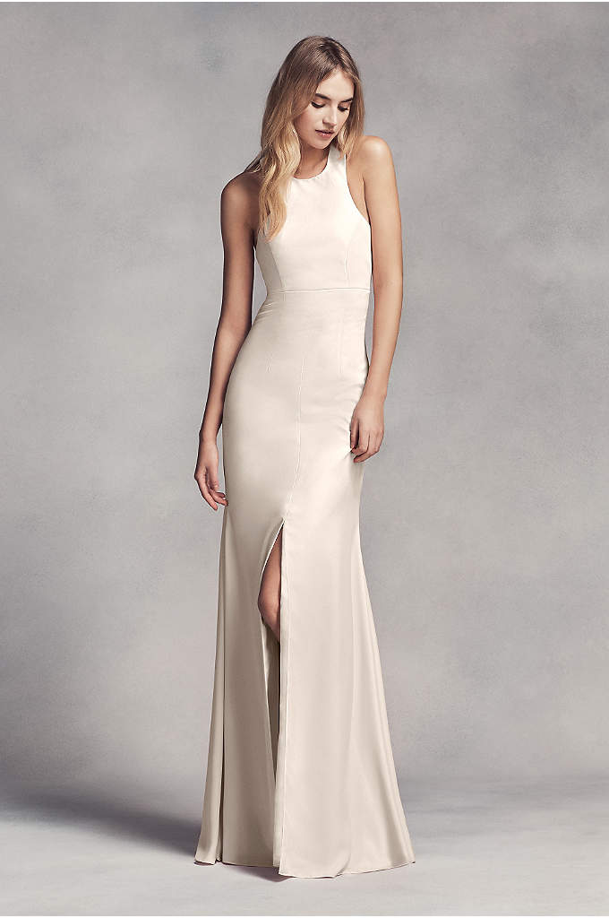 Long Halter Bridesmaid Dress with Skirt Slit - Dramatic lines define this long racerback bridesmaid dress