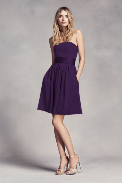 Short Strapless Bridesmaid Dress with Belt | David's Bridal