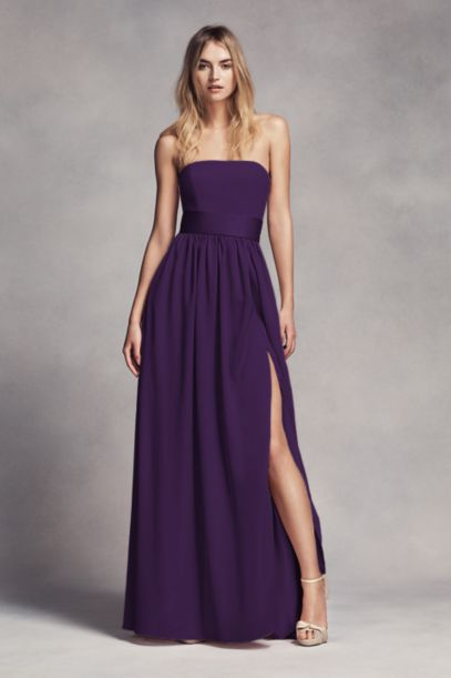 Long Strapless Bridesmaid Dress with Belt | David's Bridal