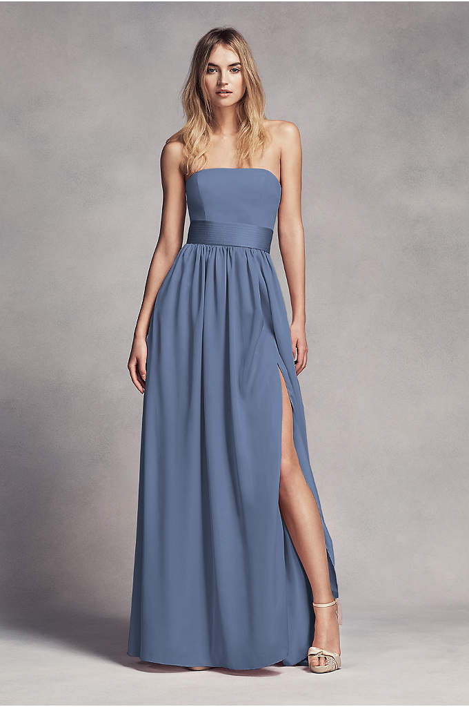 Long Strapless Bridesmaid Dress with Belt - This floor-length crepe and charmeuse bridesmaid dress exudes