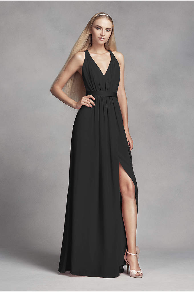 Long Chiffon Dress with Low Crisscross Back - Stunning in its simplicity, this long chiffon dress
