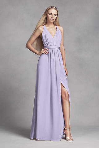 Soft Flowy White By Vera Long Bridesmaid Dress