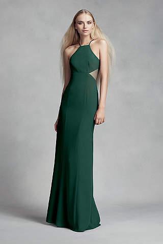Vestido Para Dama de Honor de Crepe Con Transparencias Laterales