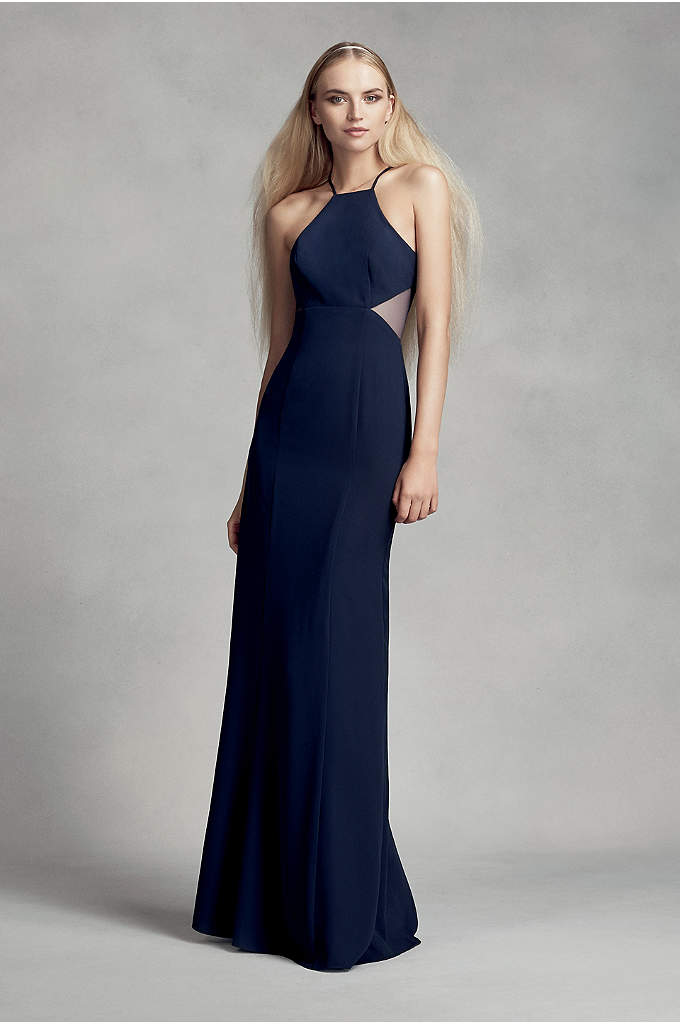 Crepe Cutaway Bridesmaid Dress with Illusion Sides - With illusion cutouts on the bodice and satin