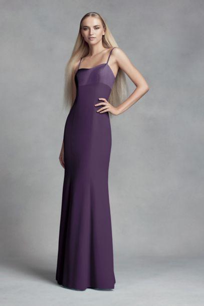 Crepe and Satin Bridesmaid Dress with Cutout Back | David's Bridal