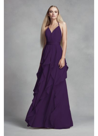 Chiffon Bridesmaid Dress With Cascading Skirt David 39 S Bridal