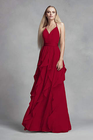 30ea04775 Vestido de Chiffon Con Falda de Cascada de Olanes - David s Bridal